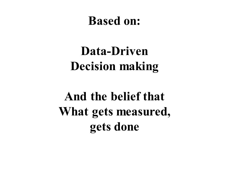 Based on: Data-Driven Decision making And the belief that What gets measured, gets done