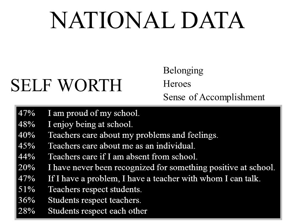 NATIONAL DATA SELF WORTH Belonging Heroes Sense of Accomplishment