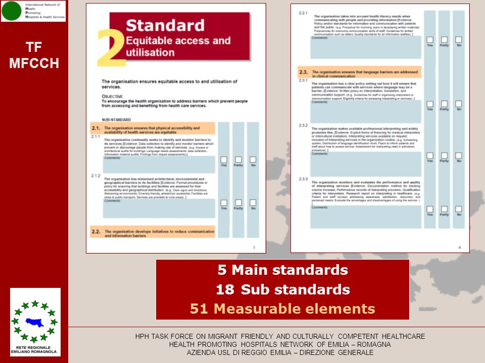 5 Main standards 18 Sub standards 51 Measurable elements
