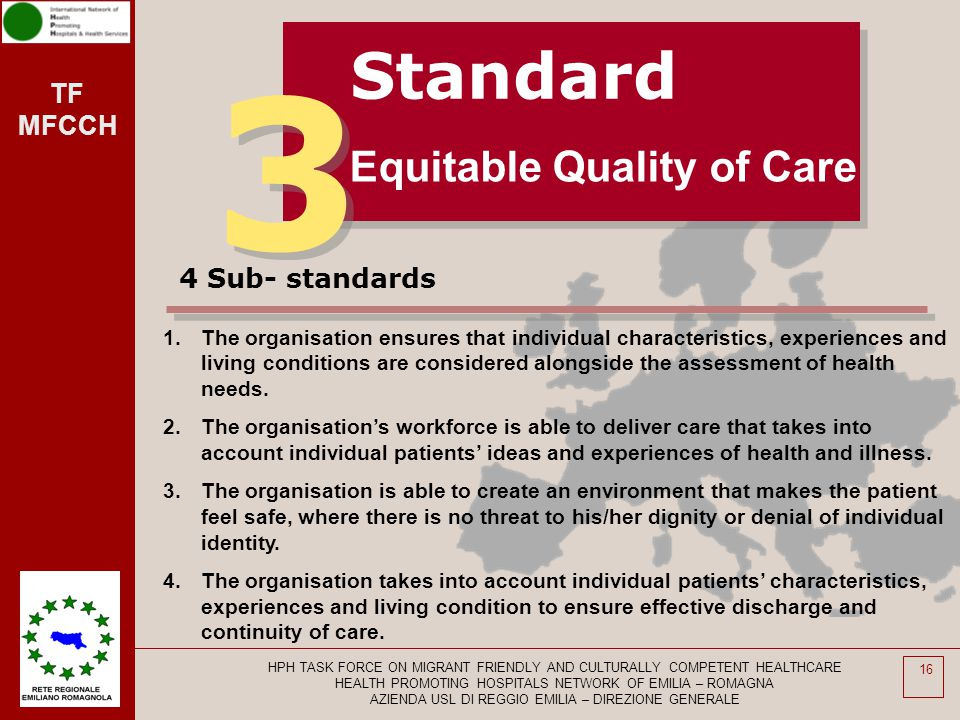 3 Standard Equitable Quality of Care 4 Sub- standards