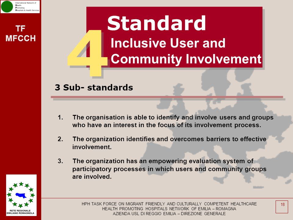 4 Standard Inclusive User and Community Involvement 3 Sub- standards