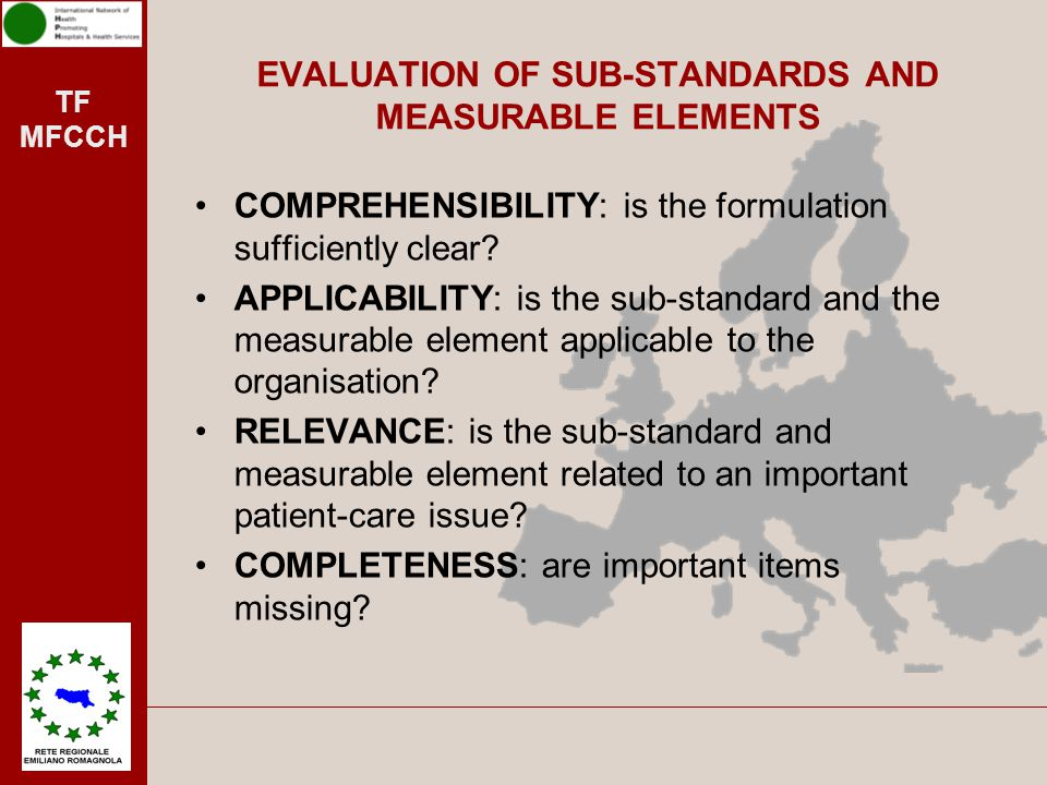 EVALUATION OF SUB-STANDARDS AND MEASURABLE ELEMENTS