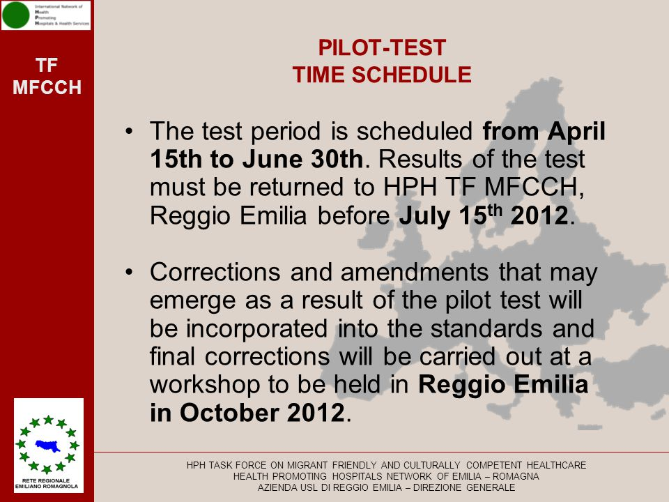 PILOT-TEST TIME SCHEDULE