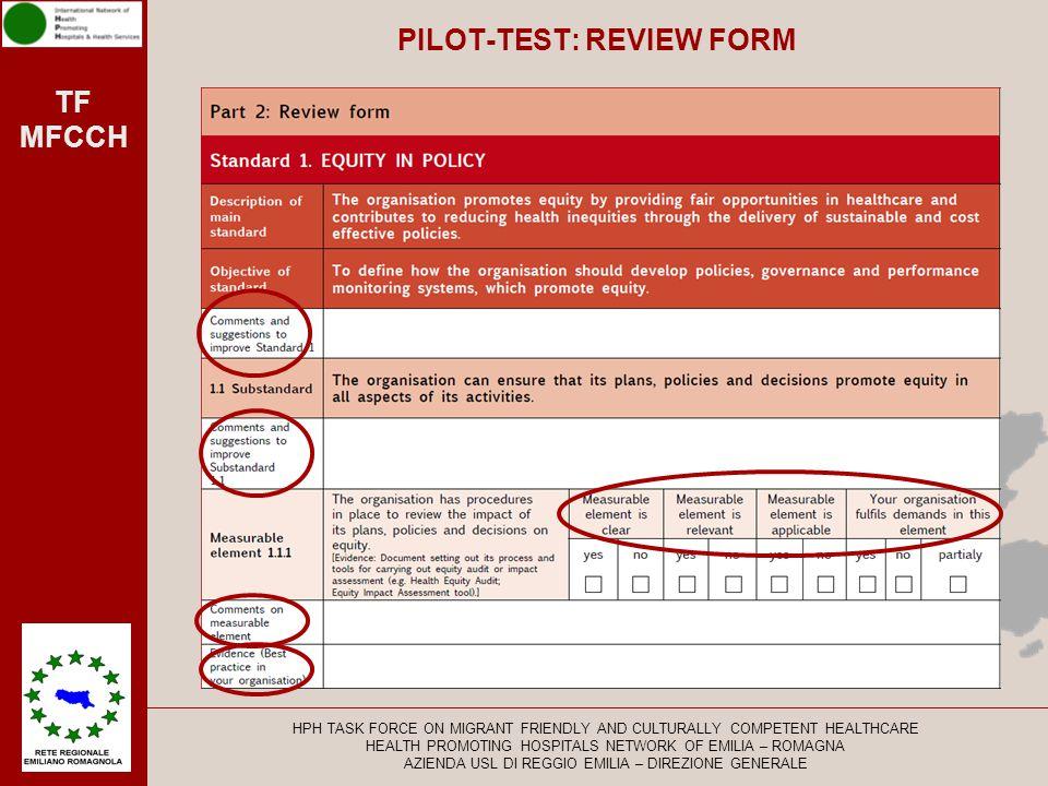 PILOT-TEST: REVIEW FORM