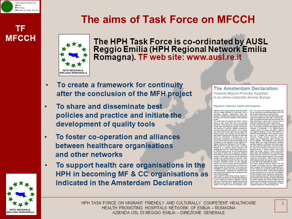 The aims of Task Force on MFCCH