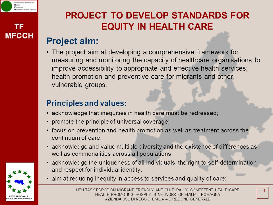 PROJECT TO DEVELOP STANDARDS FOR EQUITY IN HEALTH CARE
