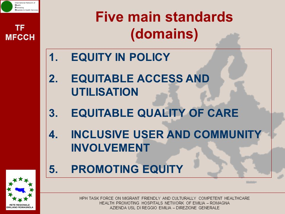 Five main standards (domains)