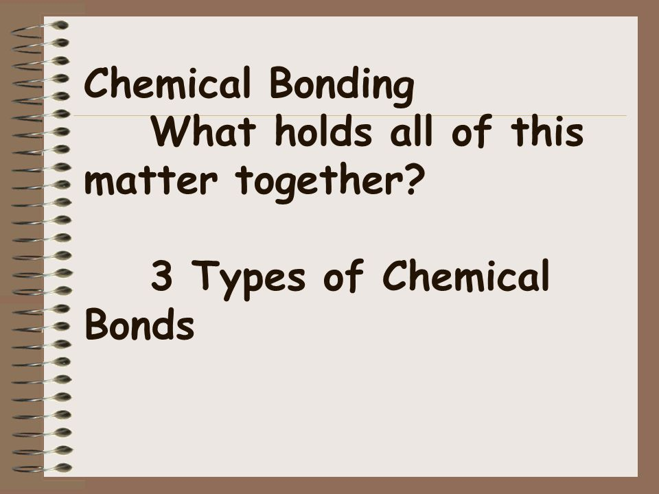 Chemical Bonding. What holds all of this matter together