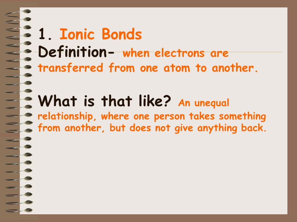 1. Ionic Bonds Definition- when electrons are transferred from one atom to another.