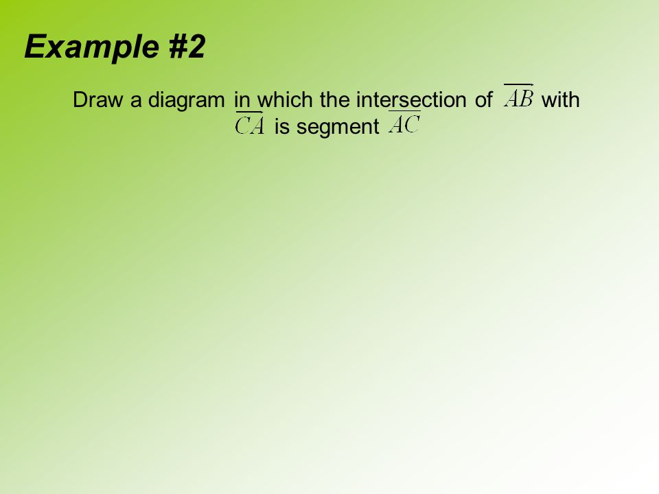 Draw a diagram in which the intersection of with is segment