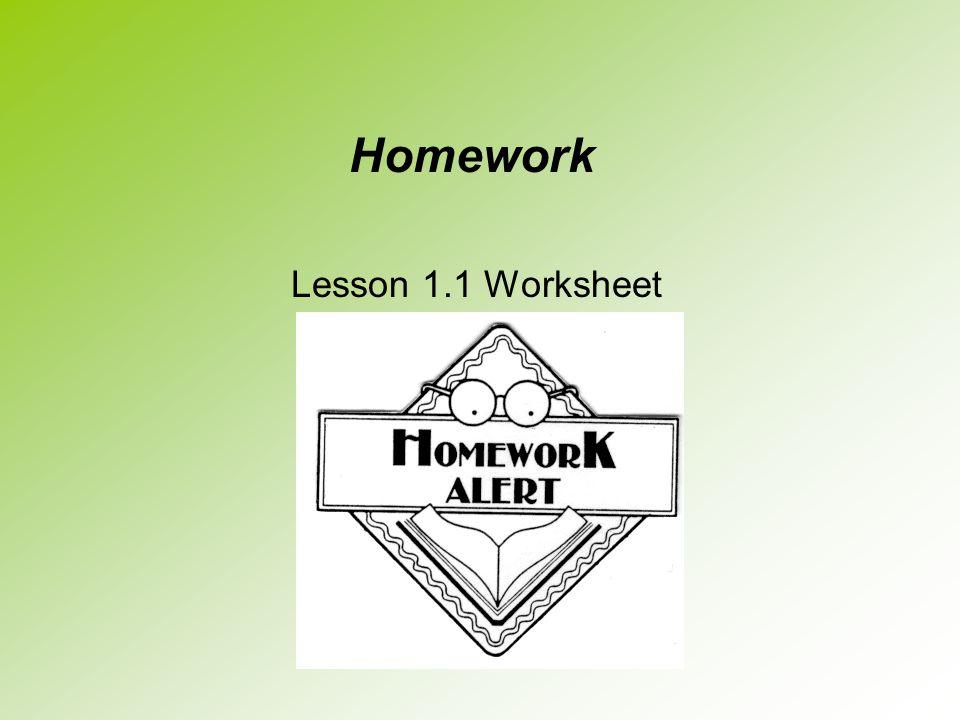Homework Lesson 1.1 Worksheet