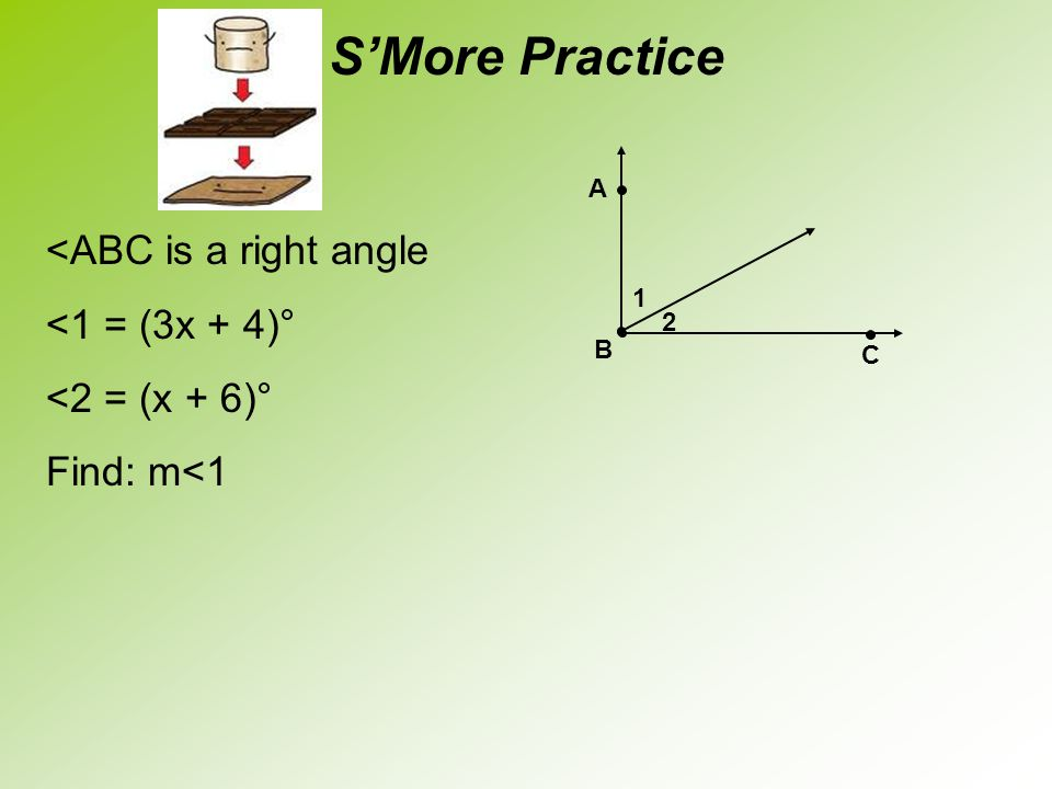 S'More Practice <ABC is a right angle <1 = (3x + 4)°