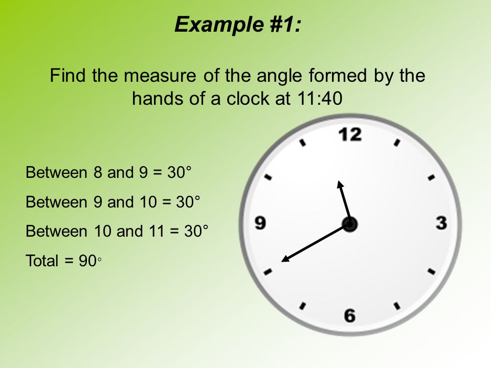Find the measure of the angle formed by the hands of a clock at 11:40