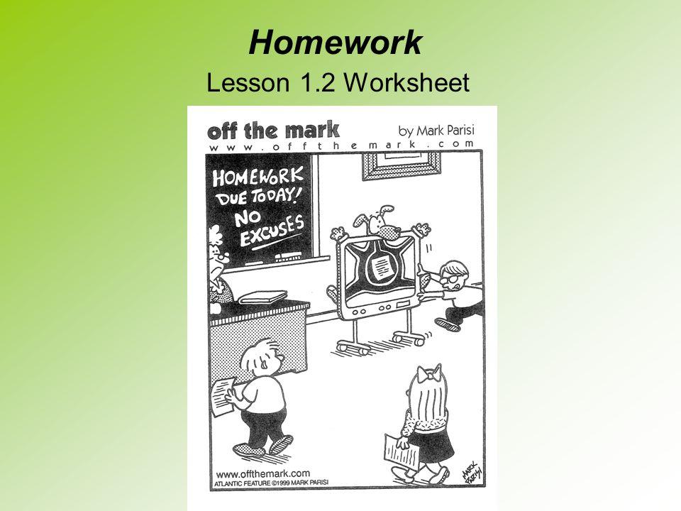 Homework Lesson 1.2 Worksheet