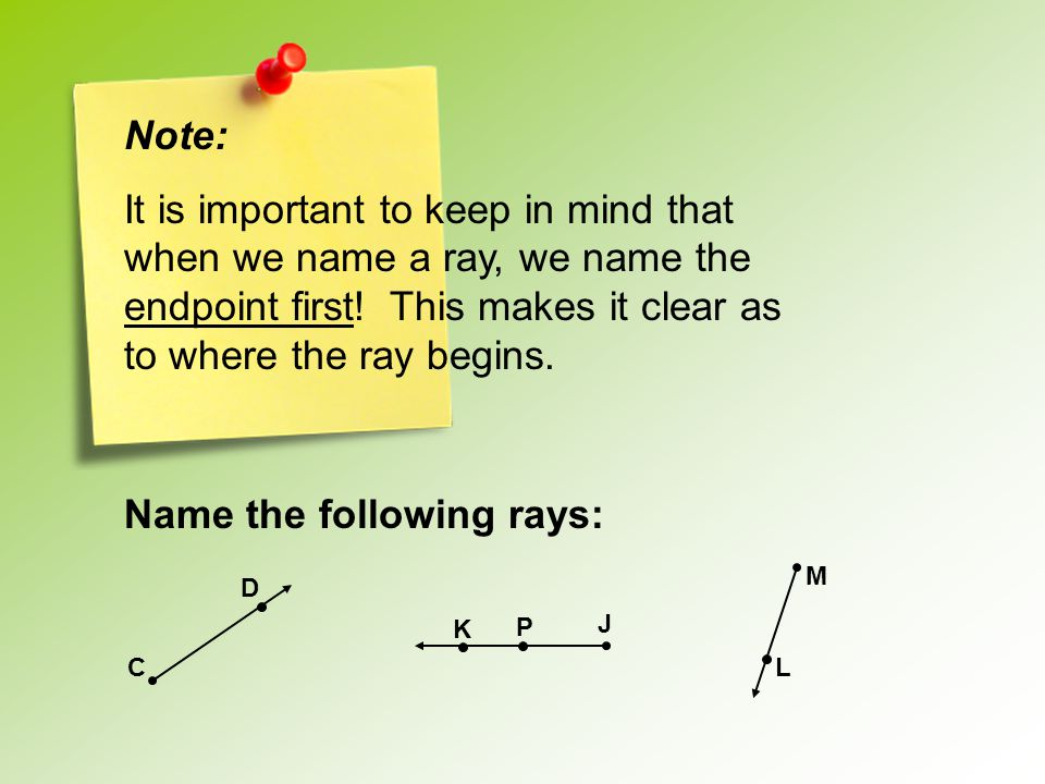 Name the following rays: