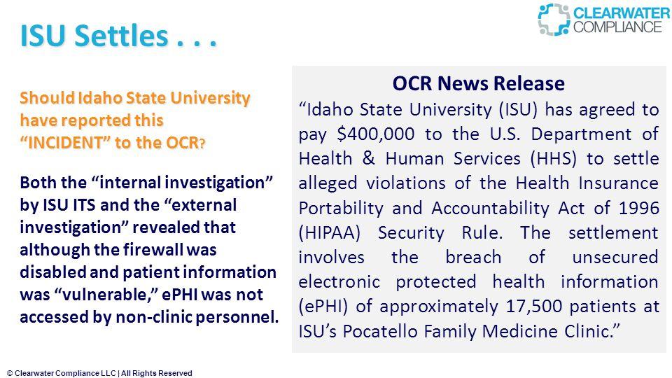 ISU Settles . . . OCR News Release