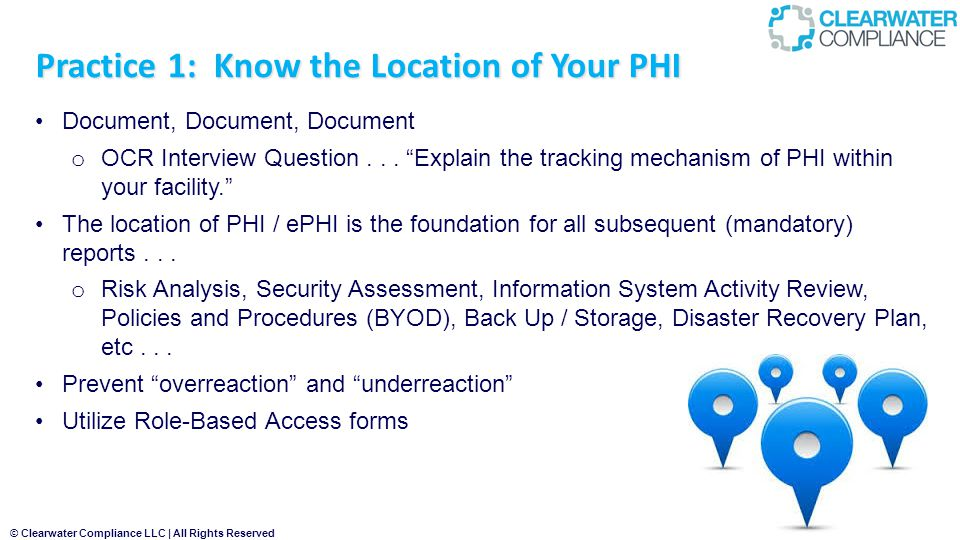 Practice 1: Know the Location of Your PHI