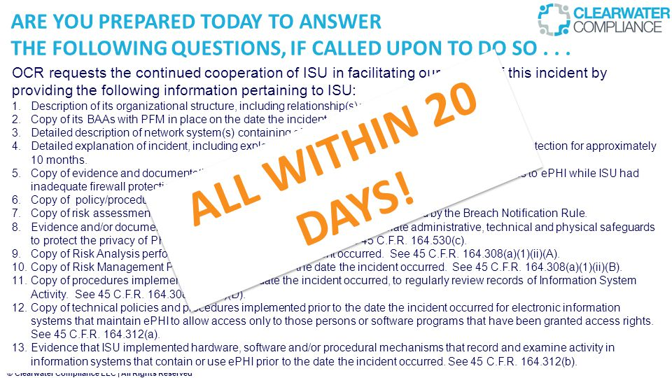 ALL WITHIN 20 DAYS! ARE YOU PREPARED TODAY TO ANSWER