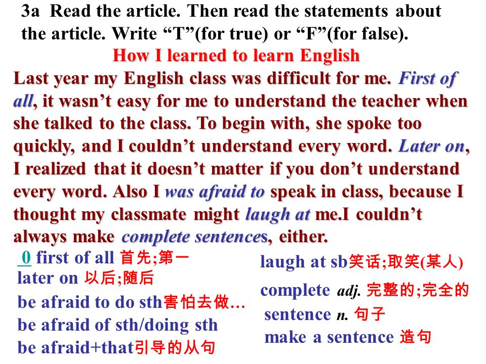 3a Read the article. Then read the statements about the article