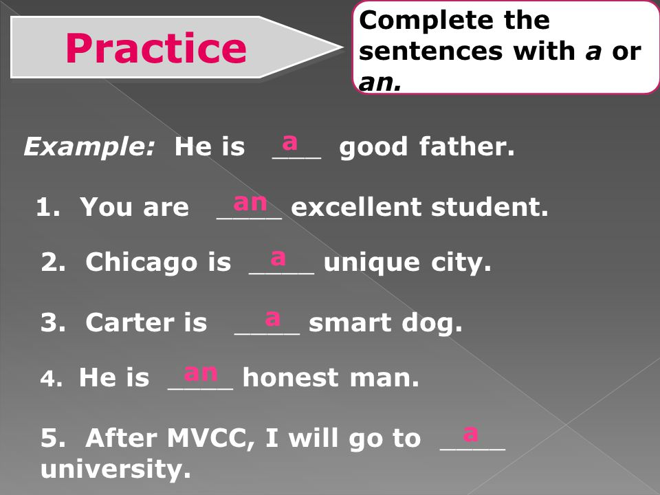 Practice Complete the sentences with a or an. a