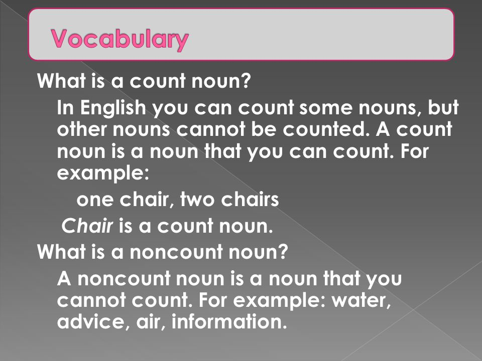 Vocabulary What is a count noun