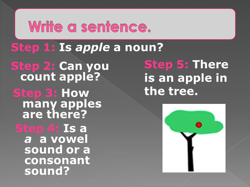 Write a sentence. Step 1: Is apple a noun