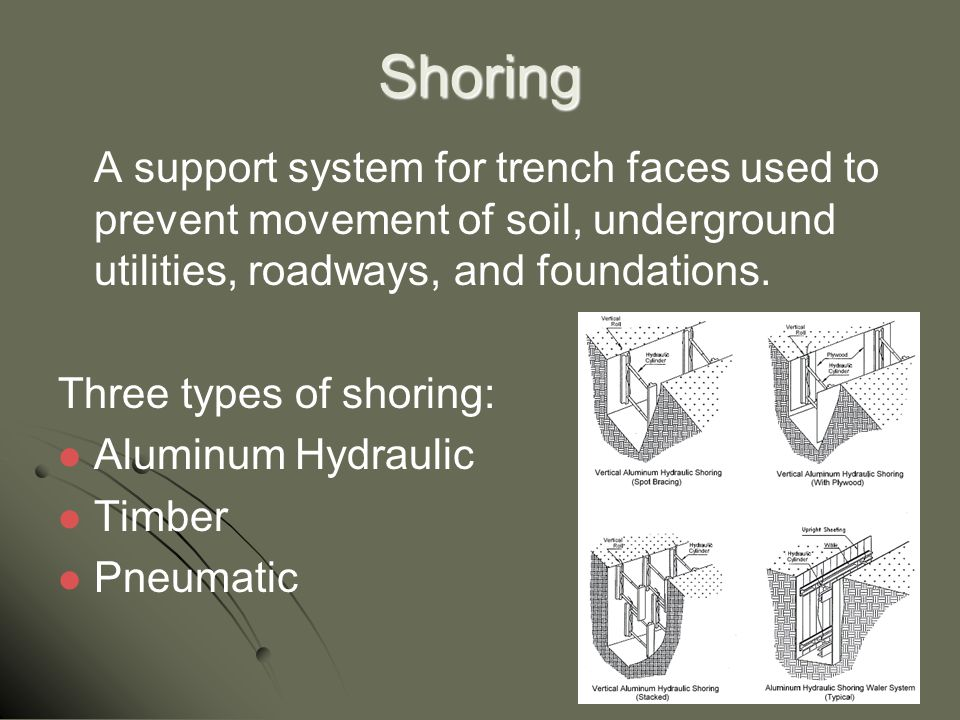 Shoring A support system for trench faces used to prevent movement of soil, underground utilities, roadways, and foundations.
