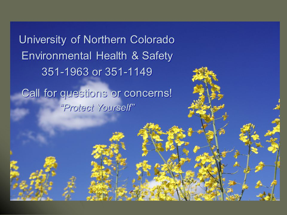 University of Northern Colorado Environmental Health & Safety