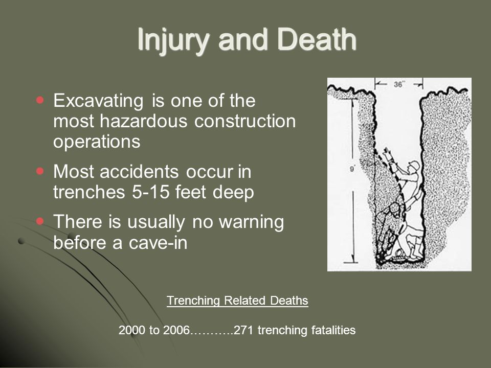 Injury and Death Excavating is one of the most hazardous construction operations. Most accidents occur in trenches 5-15 feet deep.