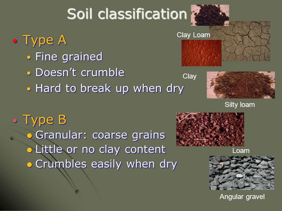 Soil classification Type A Type B Fine grained Doesn't crumble
