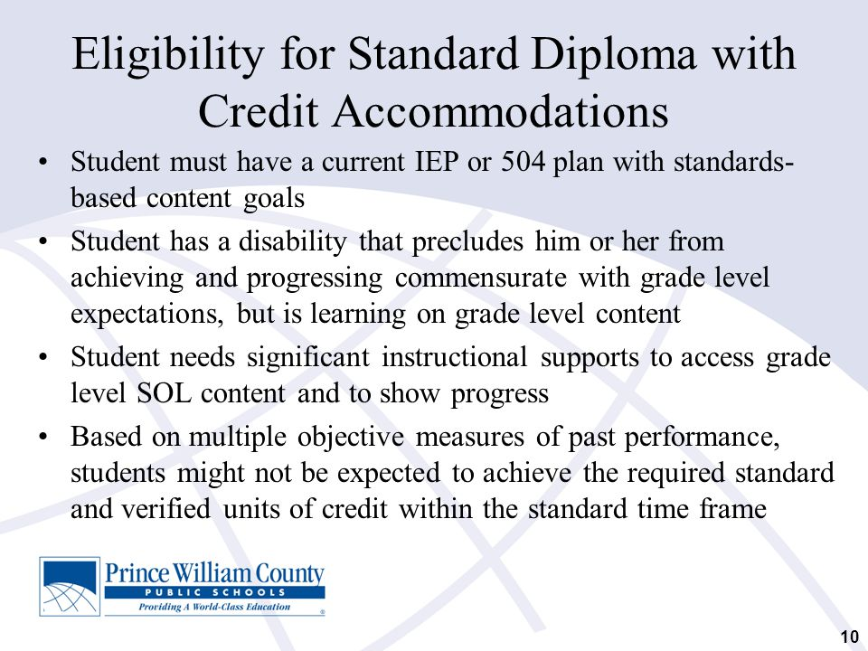 Eligibility for Standard Diploma with Credit Accommodations