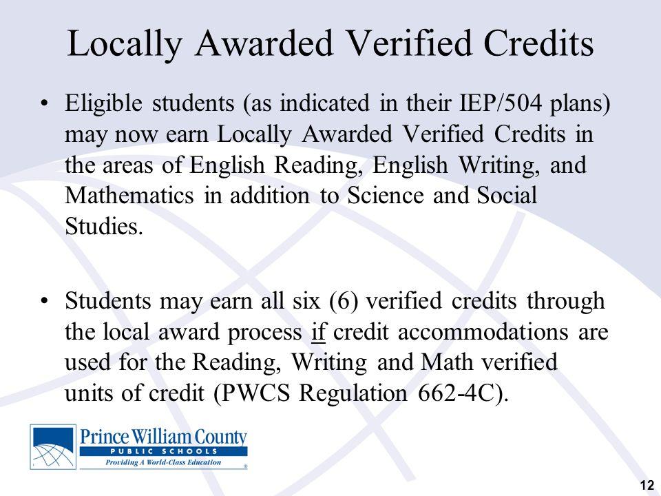 Locally Awarded Verified Credits