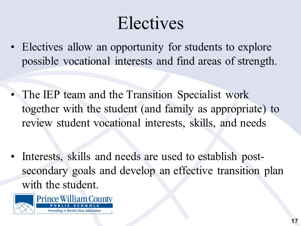Electives Electives allow an opportunity for students to explore possible vocational interests and find areas of strength.