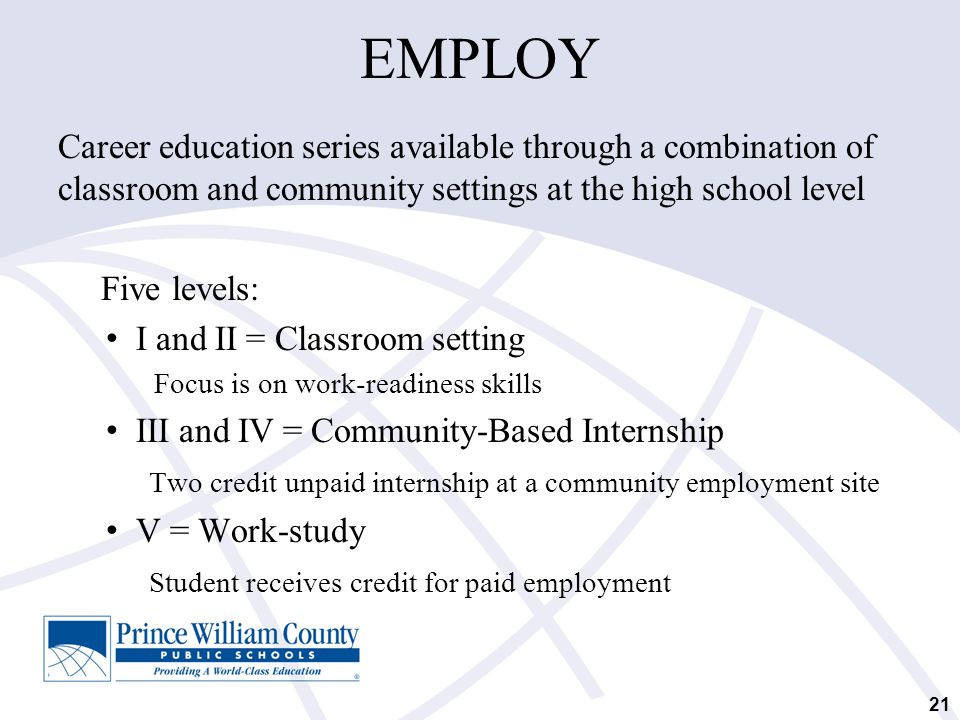 EMPLOY Career education series available through a combination of classroom and community settings at the high school level.