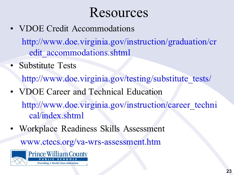 Resources VDOE Credit Accommodations