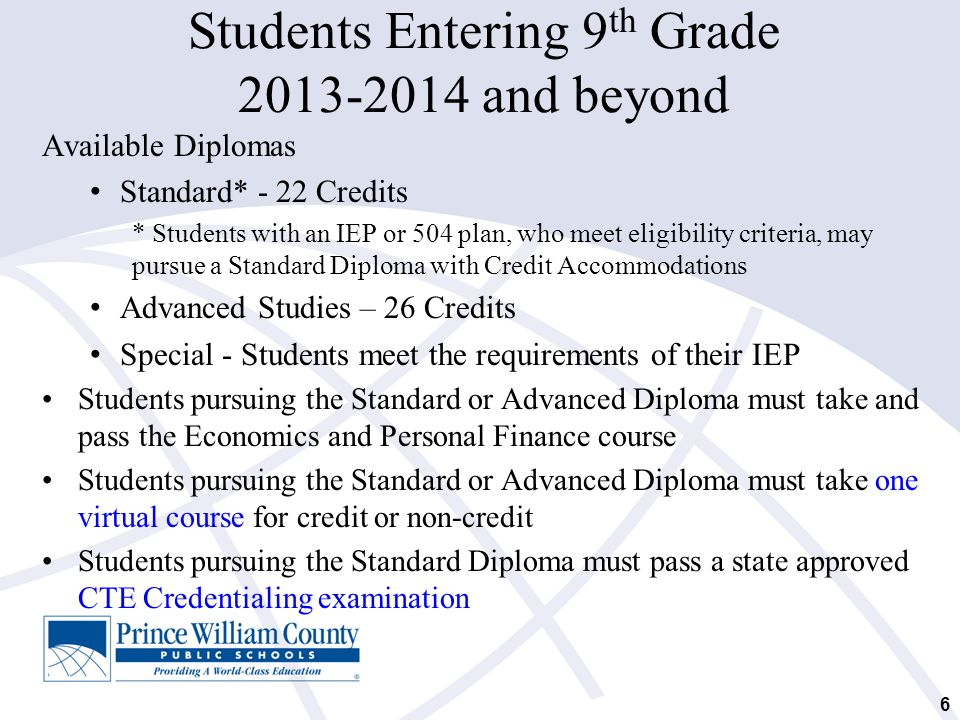 Students Entering 9th Grade 2013-2014 and beyond