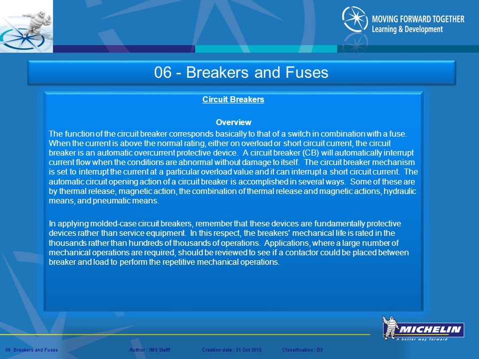06 - Breakers and Fuses Circuit Breakers Overview