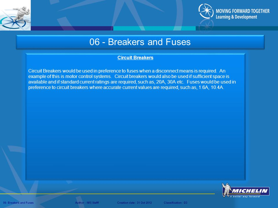 06 - Breakers and Fuses Circuit Breakers