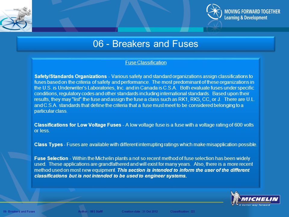 06 - Breakers and Fuses Fuse Classification