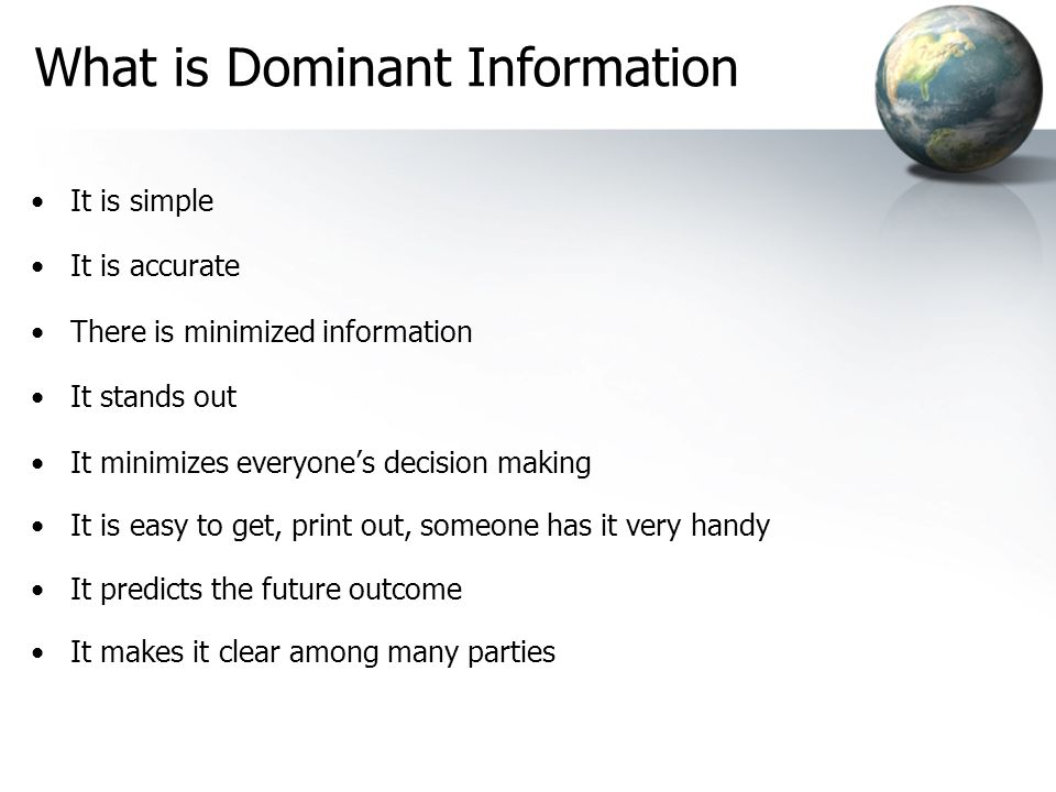 What is Dominant Information