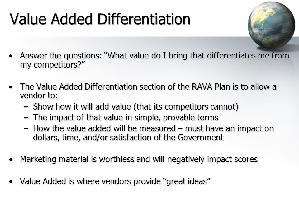 Value Added Differentiation