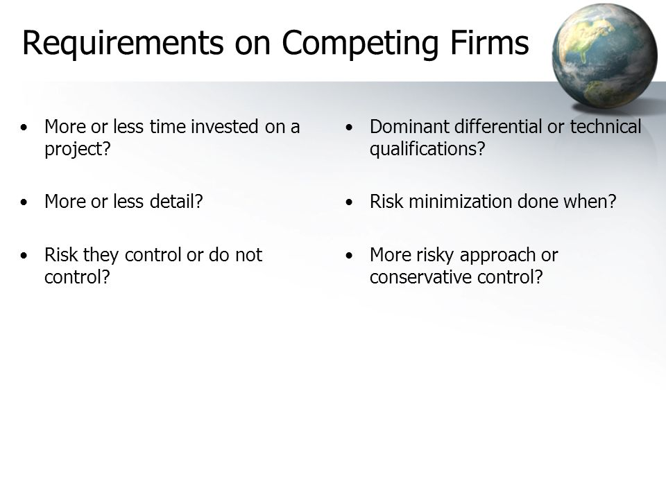 Requirements on Competing Firms