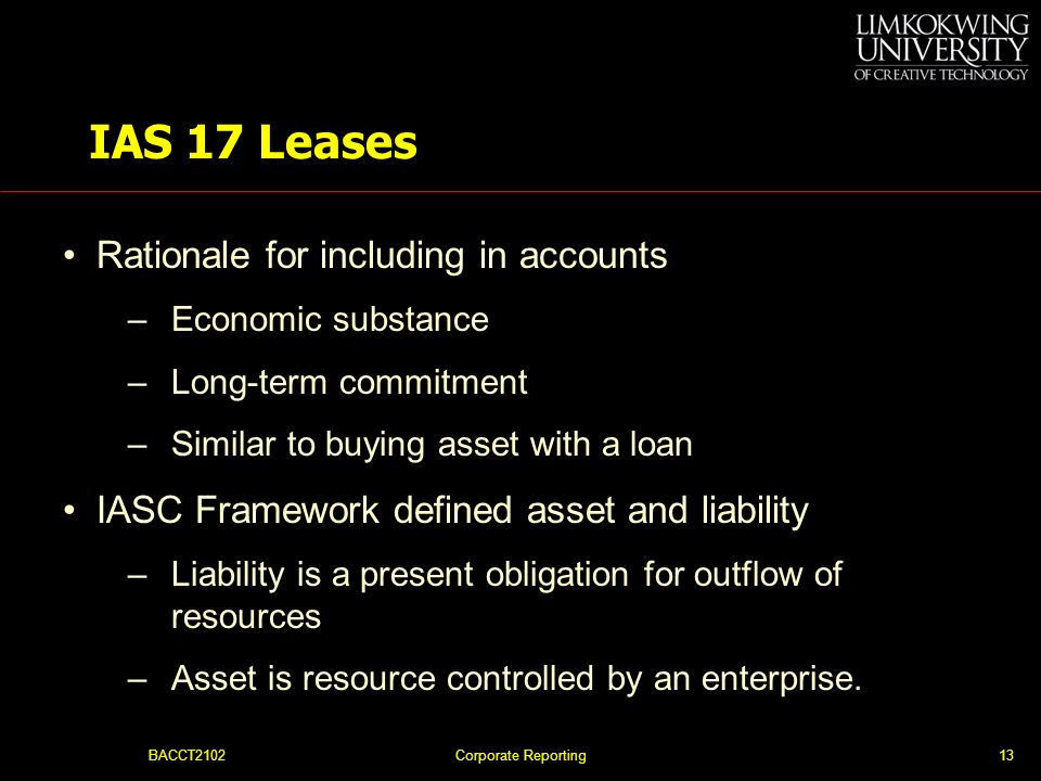 IAS 17 Leases Rationale for including in accounts