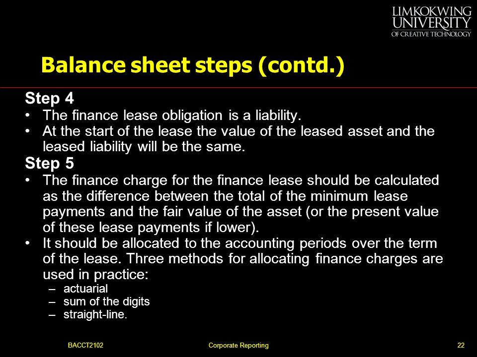 Balance sheet steps (contd.)