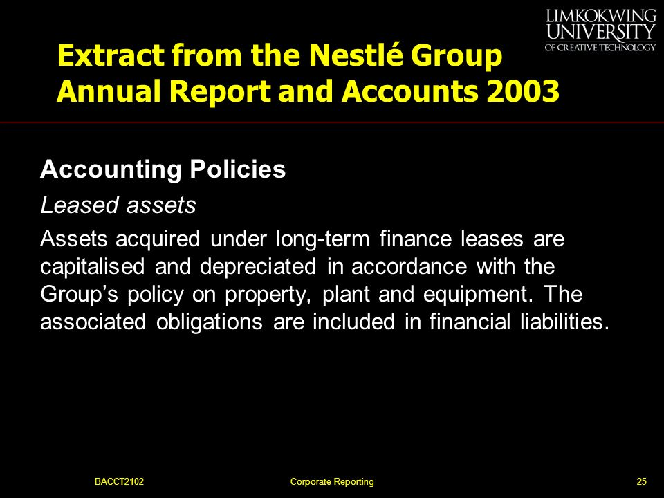 Extract from the Nestlé Group Annual Report and Accounts 2003