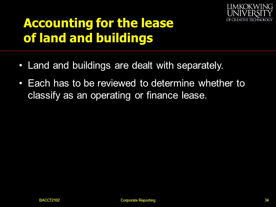Accounting for the lease of land and buildings