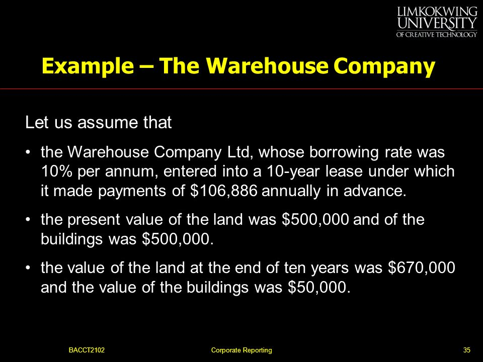 Example – The Warehouse Company