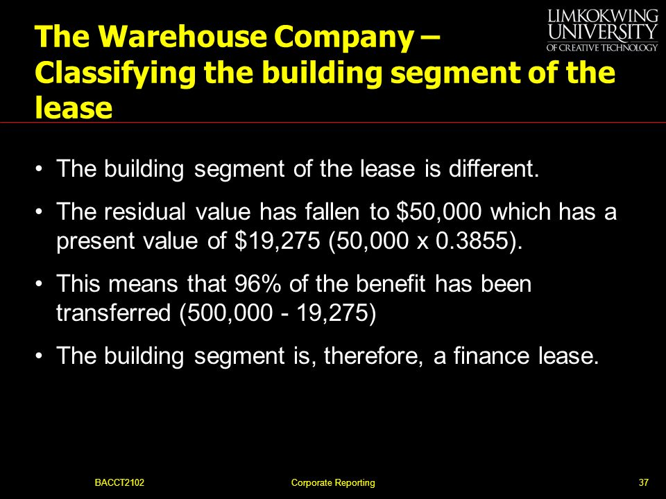 The Warehouse Company – Classifying the building segment of the lease