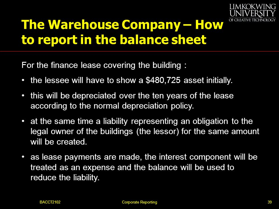 The Warehouse Company – How to report in the balance sheet