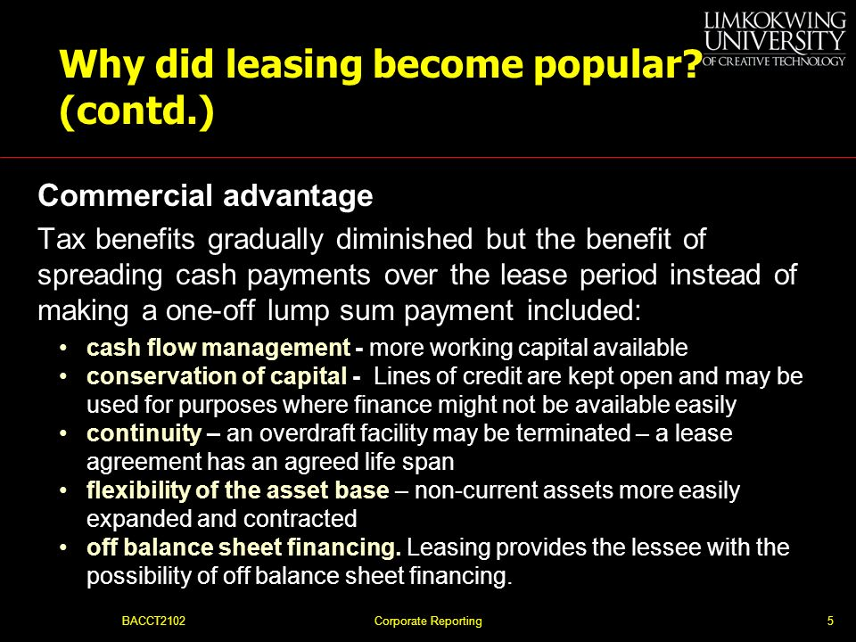 Why did leasing become popular (contd.)